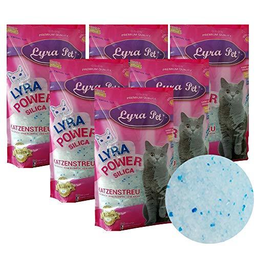 Lyra Pet® 6 x 5 L = 30 L Lyra Power Silikat Katzenstreu Cat staubfrei klumpfrei