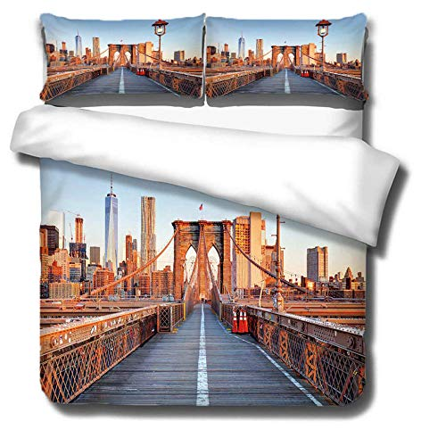Duvet Cover Set 3 Piece,3D printing Duvet Set Bedding Set for 135 * 200cm Single Bed with 2 Pillowcases.Adult and child's style: Bridge construction