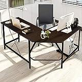 KingSo L Shaped Desk Computer Desk 59 x 59 inch Modern Corner Desk Large Writing Study Table PC Laptop Workstation Home Office Desk for Study Room, Bedroom, Living Room, Office Room, Brown