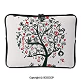YOLIYANA Large Tree with New Year Ornaments Presents and Candles Angels Laptop Sleeve Case Neoprene Carrying Bag for Any Tablet/Notebook 17 inch/17.3 inch