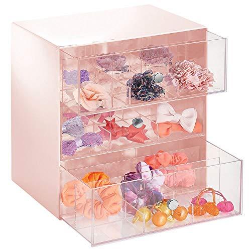 mDesign Organizador de maquillaje, discos de algodón, accesorios del pelo, etc. – Cajonera de plástico con 3 cajones – Mini cajonera con 27 compartimentos – rosa claro y transparente
