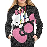 Sudadera con capucha de Hello Kitty con estampado de manga larga con cordón y bolsillo Negro Negro ( S