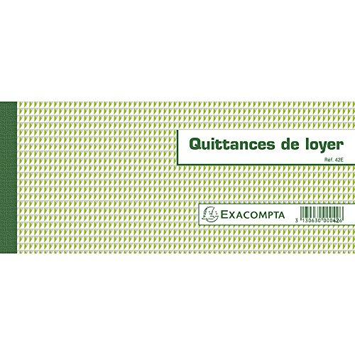 Exacompta 42E - Lote de 50 recibos de alquiler, formato horizontal, 10,1x16,5cm, versión francesa