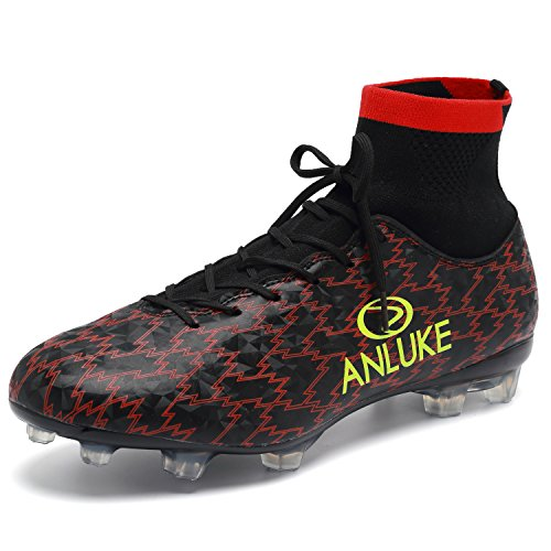 ANLUKE Men's Athletic Hightop Cleats Soccer Shoes Football Team Turf Black 43
