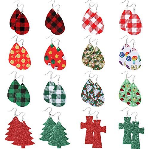 Christmas Leather Earrings for Women Girls Christmas Earrings for Women Christmas Plaid Earrings Teardrop Christmas Gifts for Women Girls