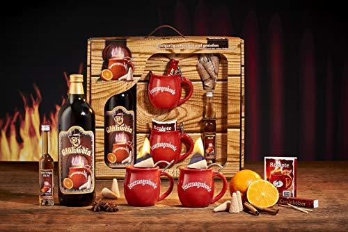Feuerzangentasse Geschenkset, Schatzkiste, Rot - für Feuerzangentasse