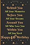 Behind you all your memories Happy 40th Birthday: 40th Birthday Journal/ Notebook/40th Birthday gift ideas Gifts for him for men women/40 Years Old ... gifts for him her/greeting card alternative