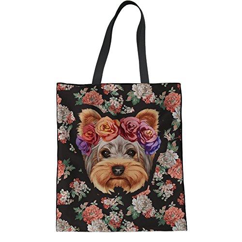 POLERO Damen Schultertasche Segeltuch Tasche für Frauen Mädchen Schultasche Strand Handtasche Shopper Tasche Yorkshire Terrier und Blumenmuster Leichte Handtasche