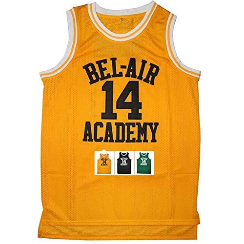 QQA Jersey # 14 Smith Bel Air Academy Cool atmungsaktiv Mesh-Sweatshirt Unisex Ärmellos Turnweste Swingman Basketball Trikots,Gelb,S