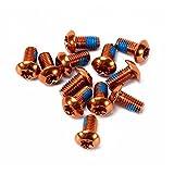 ndier Tornillos para Bicicleta, Conjunto de 12unidades colores Tornillos de freno aleación de aluminio tornillo m5x 10mm, naranja