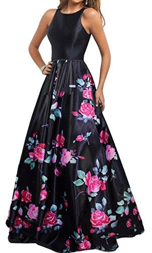 Meier Women's Long Sleeveless Open Back Print Formal Ball Gown Size 12 Black