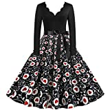 Vestido de Invierno Mujer Tallas Grandes Vestidos Vintage Estampado de corazón NegroVestido de Navidad de Manga Larga Elegante Retro Vestido a Media Pierna