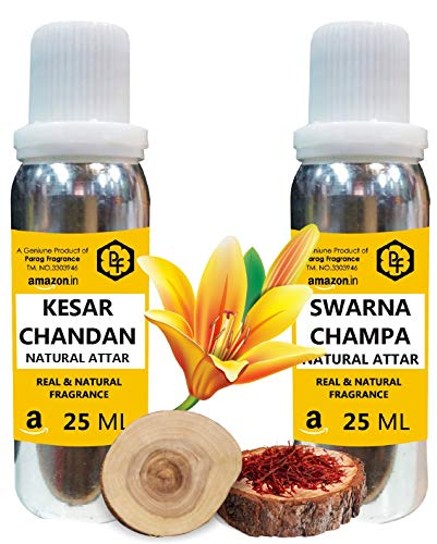 Parag Fragrances Swarna Champa & Kesar Chandan Attar Each 25ml Total 50ml Attar (Limited Time Offer)  Alcohol Free Attar Best Attar For Man & Religious Attar