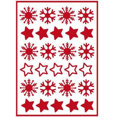 Sticker de Noël pour Vitre ou Surface Murale Planche de Flocons et Etoiles - Rouge(21x30cm)