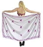 LA LEELA - Traje de baño para mujer con estampado de pareo bordado A, color rosa, 72 pulgadas x 42 pulgadas