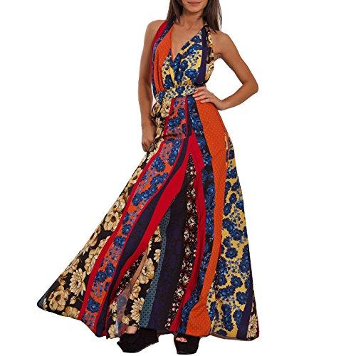 Toocool - Vestito Donna Lungo Abito Elegante Multicolor Schiena Nuda Cerimonia VB-2463 [Taglia...