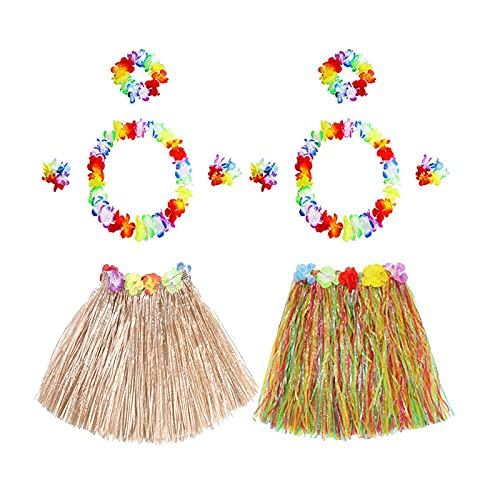 MMZB 2 Set HAWAIAN Hula Gonna Erba con Flower Leis, Set di Costumi, Erba Elastica Luau e Braccialetti di Fiori hawaiani, Fascia, Collana per favori per Feste