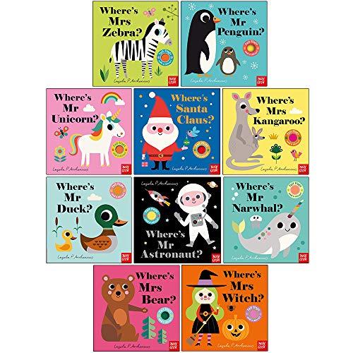 Felt Flaps Series 2 & 3: 10 Books Collection Set By Ingela P Arrhenius (Where's Mrs Zebra, Mr Penguin, Mr Unicorn, Santa Claus, Mrs Kangaroo, Mr Duck, Mr Astronaut, Mr Narwhal, Mrs Bear, Mrs Witch)