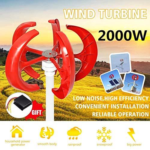 YUYUKUAILAI 2000W CA 12V 24V Aerogenerador Linterna 5 Hoja Kit Motor Vertical del hogar híbrido lámpara de Calle electromagnética