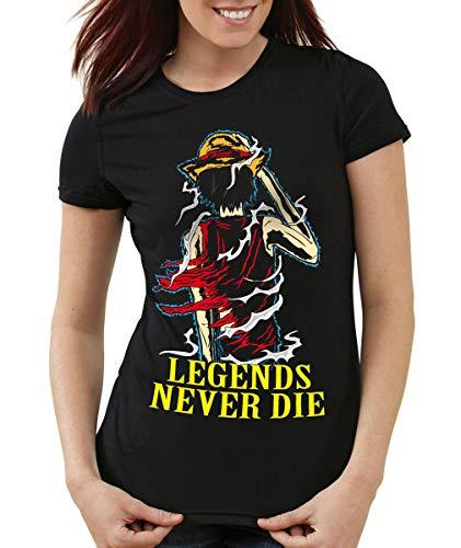 Legends Never Die - Luffy T-Shirt Femme, Couleur:Noir;Taille:S