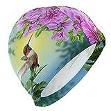 Gebrb Gorro de Baño/Gorro de Natacion, Swim Cap Animal Bird Hummingbird Swimming Hat Cover Ears No-Slip Bathing Cap for Men