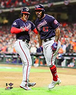 Washington Nationals 2019 World Series Champions Juan Soto & Howie Kendrick Celebrating a Two Run Home Run During Game 7 8x10 Photo Picture 2 run