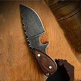 Pequeño cuchillo de cocina de la cuchilla de carnicero acampar al aire libre del cuchillo del EDC de la correa del anillo dominante de la decoración de la caza de supervivencia cuchillo con el caso de