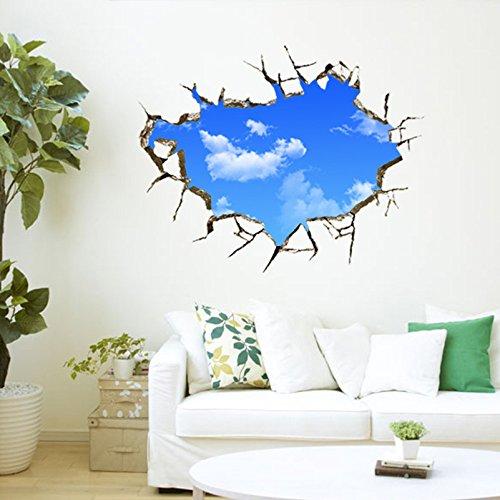 3Dウォールステッカー 青空白雲 サイズ:50*70cm 非日常風景 素晴らしい