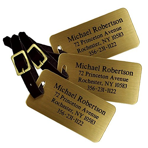 Personalized Luggage Tags, Sublimated Brass Luggage Tags with Leather Strap (Set of 3 Luggage Tags)