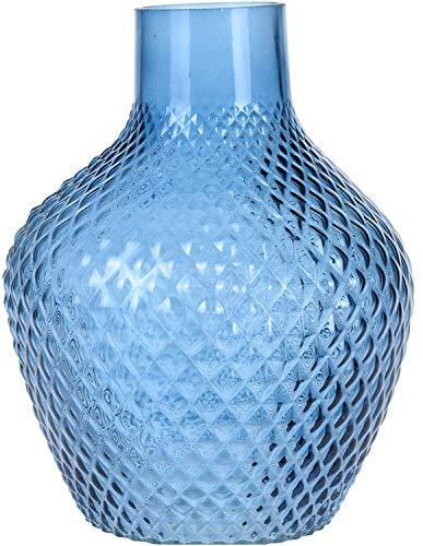 Koop Homewares Große Extra Breit Glas Fisch Schale Form Blumen Vase Gewellt Stil 27cm Blau - Dunkelblau