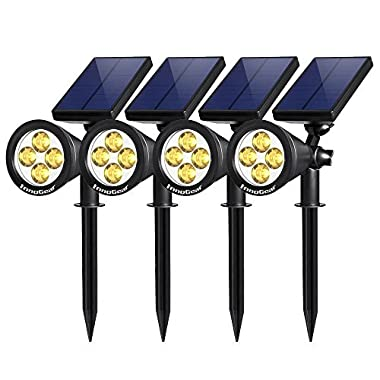 InnoGear Upgraded Solar Lights 2-in-1 Waterproof Outdoor Landscape Lighting Spotlight Wall Light Auto On/Off for Yard Garden Driveway Pathway Pool, Pack of 4 (Warm White)