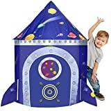 Vimpro Play Tent for Kids, Rocket Ship and Planet Design Kid Tent for Indoor and Outdoor Fun, Foldable Playhouse Toy + Carry Bag for Boys & Girls, Imaginative Games & Perfect Gift for Christmas