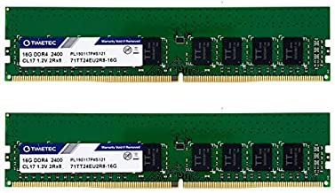 Timetec Hynix IC 32GB KIT (2x16GB) DDR4 2400MHz PC4-19200 Unbuffered ECC 1.2V CL17 2Rx8 Dual Rank 288 Pin UDIMM Server Mem...
