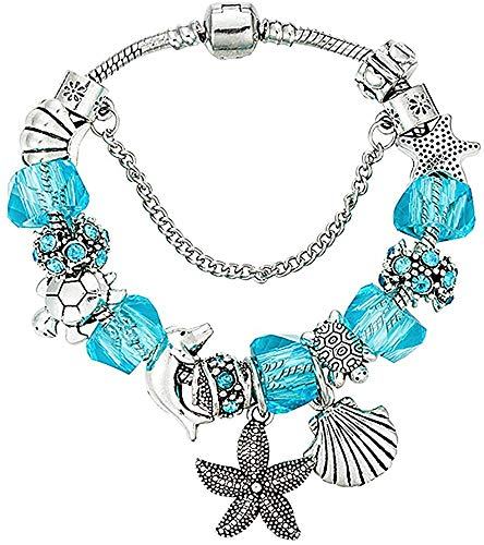Braccialetto charms fascino perline 21 cm - spiaggia delfino mare stella marina tartaruga conchiglia - per donna mamma bambina adolescente - regalo premium -argento sterling 925 placcato