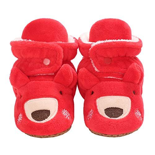 Baby Girls Boys Cozy Fleece Booties Christmas Reindeer Elk Design Newborn Shoes Infant Footwear (Red, 0_Months)