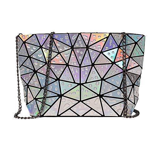 Mega Damen Holographic Handtasche Hologramm Umhängetasche Karierte Abendtasche für Party mit Kette (Silber)