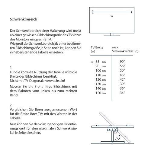 Soporte de pared para monitor de acero en negro extensible de 6,5 cm a 42,2 cm inclinable 12° girable 2 x 180° para Samsung 24