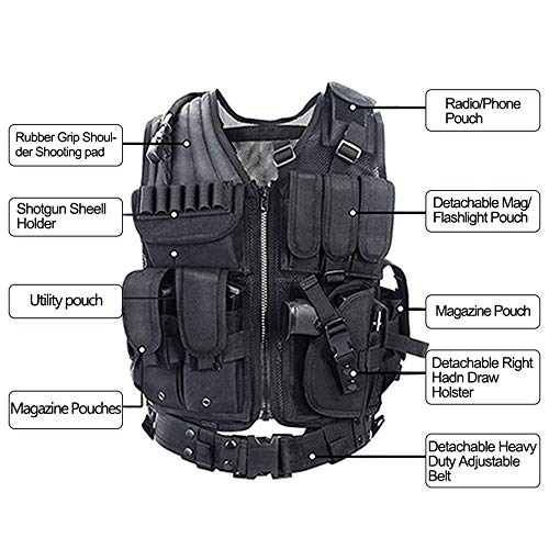 YAKEDA Tactical Vest Outdoor Ultra-Light Breathable Combat Training Vest Adjustable for Adults 600D Encryption Polyester-VT-1063 (Black)