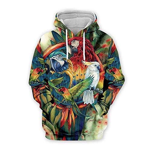 yyqx container Sweatshirt 3D Sweat à Capuche Perroquet Hoodies d'impression 3D Unisexe Manches Longues Sweat-Shirts Respirants Cordon de Serrage réglable avec Poche Kangourou-Couleur de Poche , XS