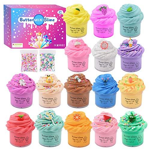 Paquete de 16 mini manteca perfumada, pastel de animales dulces y fruta Slime, juguete de masilla para aliviar el estrés para niñas y niños, súper elástico y no pegajoso