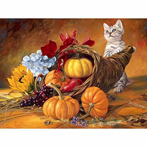 5D Diy diamante pintura taladros redondos completos recién llegados gato calabazas Handmad mosaico diamante bordado decoraciones decoración del hogar