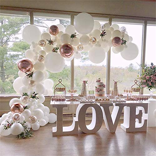 DUBEDAT White Balloon Garland Kit Rose Gold balloon Arch Wedding Deco Bridal Shower Baby Birthday Party Decoration