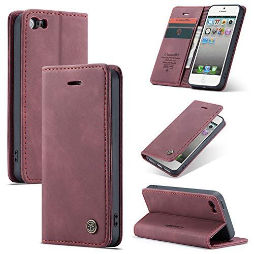 AKC Funda Compatible para iPhone 5/5S Carcasa con Flip Case Cover Cuero Magnético Plegable Carter Soporte Prueba de Golpes Caso-Vino Rojo