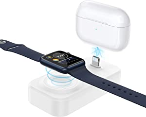 2 in 1 Charger Stand for Apple iWatch and AirPods, AEQ Smart Watch Charging Dock Compatible with iWatch Series SE/6/5/4/3/2/1(44mm,42mm,40mm,38mm) and AirPods Pro/2/1 (White)