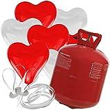 doriantrade.de 50 Herz Luftballons freie Farbwahl mit Helium Ballon Gas Hochzeit Valentinstag Komplettset (Rot/Weiß)