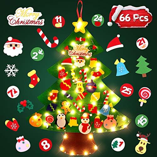 SOLEDI Albero di Natale in Feltro Albero 66 Pezzi Natale Feltro per Bambini con LED Luci Feltro Albero Natale può Essere un Calendario
