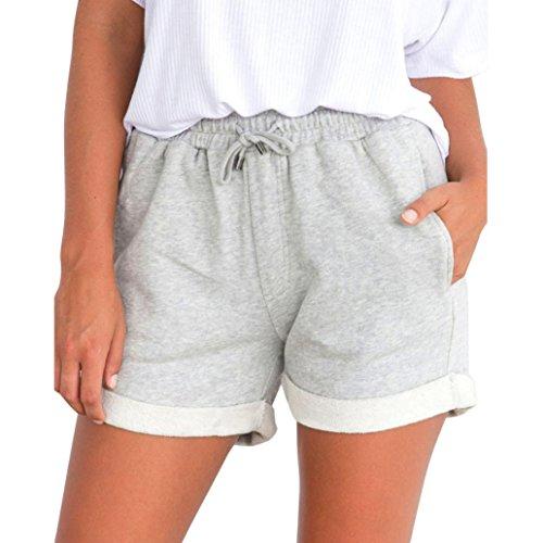 Bekleidung AMUSTER Damen Mädchen Hot Pants Loose Fit Shorts Strand Hohe Taille Kurze Hosen Damen Sport Shorts Mädchen Hosen für Damen Mädchen (M, Grau)