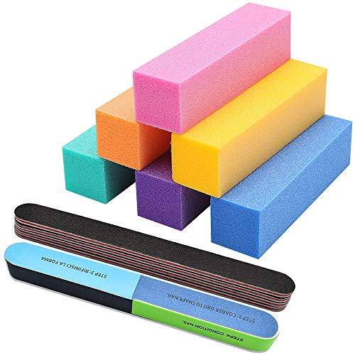 Nail Files and Buffers for Acrylic Nails, Manicure Pedicure Nail, Professional Colorful Tools Kit Rectangular Art Care Buffer Block Tools 100/180 Grit