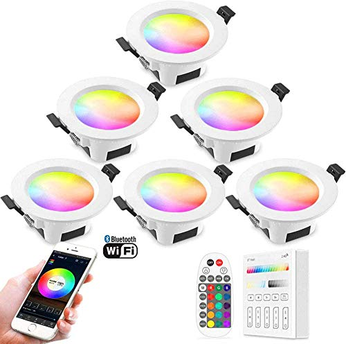 PaNt Focos Empotrables LED,9W 16 Millones de Tipos RGBW + CCT 5 en 1 Colores Interruptor Temporizador Música Inteligente Múltiples de Control Inteligente Regulable Compatible con Alexa (6 Paquetes)