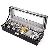 JIAJBG Caja de almacenamiento de reloj para almacenamiento de reloj, caja de reloj con hebilla de metal, 6 ranuras para almacenamiento y visualización de reloj exquisito/negro / 30 x 11 x 8 cm